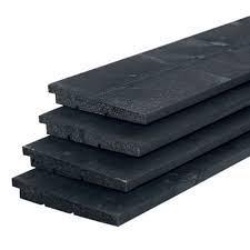 Douglas Zweeds rabat 1 zijde geschaafd, 1 zijde fijnbezaagd 1,1-2,7 x 19,5 x 400 cm, zwart gedompeld.