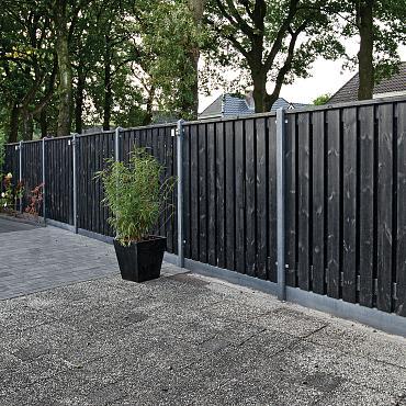 Tuinscherm Privacy ZWART Gespoten 180x180 cm 19+2 planks