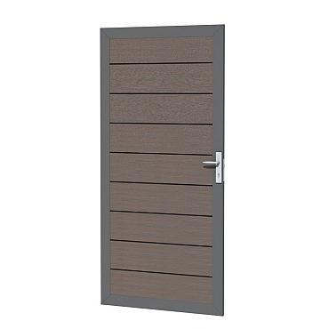 Composiet deur in aluminium frame 90 x 183 cm, bruin.