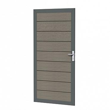 Composiet deur in aluminium frame 90 x 183 cm, grijs.
