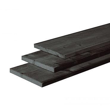 Douglas fijnbezaagde plank 2,2 x 20 x 300 cm, zwart gedompeld.