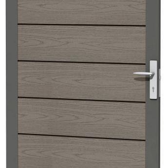 Composiet deur met houtmotief in aluminium frame 90 x 183 cm, grijs.