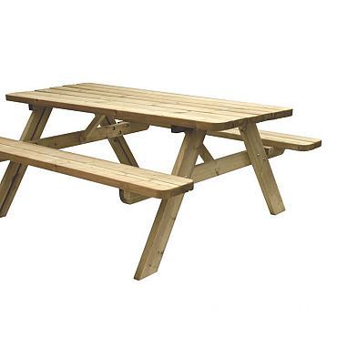 Picknicktafel Easy, 42 mm dik, bladmaat 180 x 70 cm, groen geïmpregneerd.