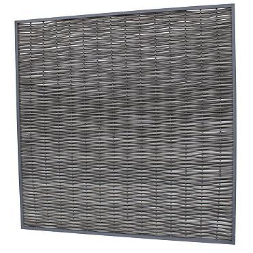 Composiet wickerscherm in aluminium frame, 180 x 180 cm, antraciet.