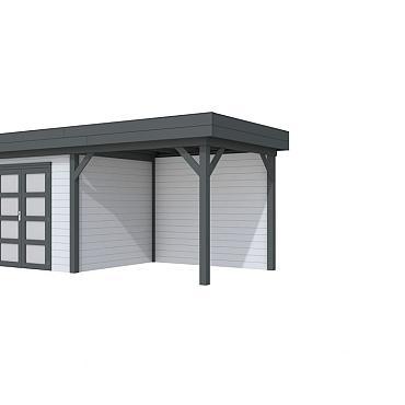 Vuren Topvision Bonte Specht, 300 x 250 en luifel 300 cm, wanden lichtgrijs en basis antraciet.