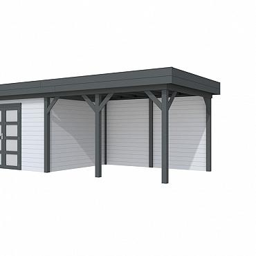 Vuren Topvision Parelhoen, 400 x 300 en luifel 400 cm, wanden lichtgrijs en basis antraciet.