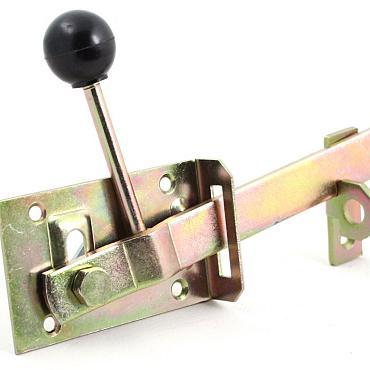 Tuinheksluiting+kunststof knop smal geel verzinkt 60x100 (21091313) 10 stuks